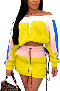 Emoliy Women 2 Piece Outfits Tracksuit Jumpsuits Lightweight Windbreaker Pullover Jacket Crop Top Pants Set