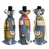 Arte moderno Lindo Llama Alpaca y Cactus Gray3pcs Navidad Navidad Vino Tinto Botella Envoltura Bolsa Decoraciones Adornos Tema Degustación Encantos Accesorios Regalos Set Fiesta