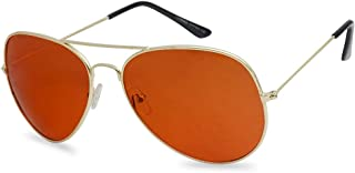 SunglassUP - 80's Retro Round XL Blue Blocking Aviator Bomber Sunglasses (Gold (Aviator), Amber (Blue Blocking))