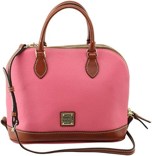 Dooney & Bourke Zip Zip Satchel Pebbled Leather Shoulder Bag Purse Handbag (Bubble Gum)