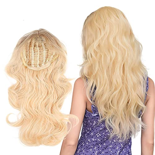 JSQUK Peluca rubia para mujer, peluca larga y rizada, rizada, rizada, rizada, natural, pelo largo, ondulado, para mujer, vida cotidiana, anime, cosplay, fiesta, Halloween, coche