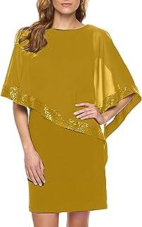 YMING Damen Cocktail Kleid mit Chiffon Poncho Partykleid Kleid für Büro Minikleid