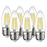 LVWIT Bombillas Vela de Filamento LED E27 (Casquillo Gordo) - 4W equivalente a 40W, 470 lúmenes, Color blanco cálido 2700K. Bombilla retro vintage, No regulable - Pack de 6 Unidades.