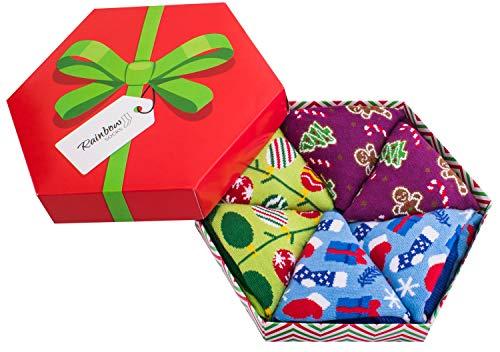 Rainbow Socks - Donna Uomo Il Box di Calze Natalizie Per Regalo - 3 Paia - Alberi di Natale Bastoncini di Zucchero Regali - Taglia 41-46