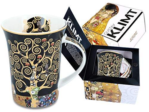 CARMANI - Tazza in porcellana decorata con 'Albero della vita' di Gustav Klimt, 350 ml