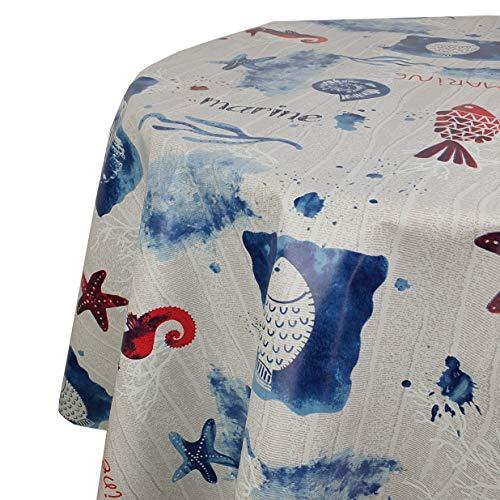 DecoHomeTextil Wachstuchtischdecke Wachstuch Tischdecke Gartentischdecke Rund Oval Marine Seepferd Rund 120 cm abwaschbare Wachstischdecke