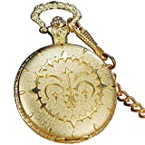 LEYUANA Reloj de Bolsillo Redondo Cuarzo Dorado Steampunk, con Cadena de Cintura Fob Reloj de Bolsillo Vintage para Mujer Regalos para Hombres