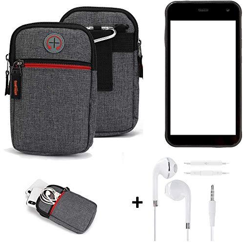 K-S-Trade® Gürtel-Tasche + Kopfhörer Für -Cyrus CS 22- Handy-Tasche Schutz-hülle Grau Zusatzfächer 1x