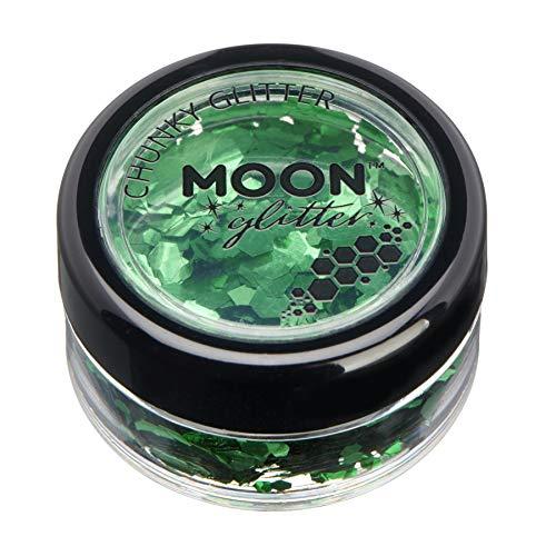 Brillant épais classique par Moon Glitter – 100% de paillettes cosmétique pour le visage, le corps, les ongles, les cheveux et les lèvres - 3g - Vert