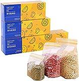 70 Packs Richiudibili Sacchetti per Alimenti Bustine Trasparenti, Borsa con Chiusura a Cerniera Rigida Riutilizzabile, BPA Libero