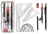 Moblavo Set mit 8 Werkzeugen für Geometrie, Zirkel, Lineal, Geometrische Winkelmesser, Bleistift, Anspitzer in einer Aufbewahrungsbox, Stil B -