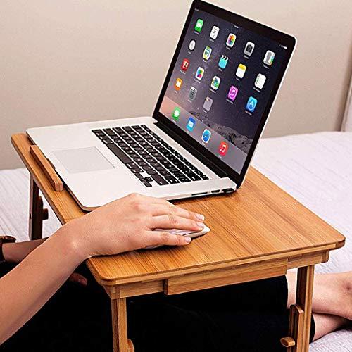 FACAIA Soporte para computadora portátil, Bandeja de Cama Plegable de bambú para Servir el Desayuno, Escritorio de Regazo con cajón Superior inclinable y Lateral para sofá, sofá, Piso para niños