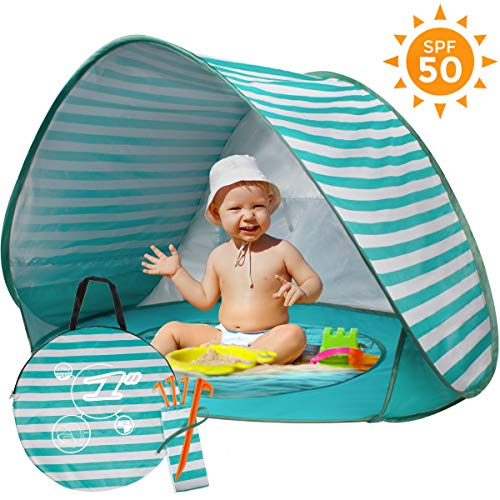 BUENAVO Baby Beach Tent Pop Up, Portable Beach Tent for Baby with Detachable UV Protection UPF 50+ Sun Shelter with Mini Pool for Infant