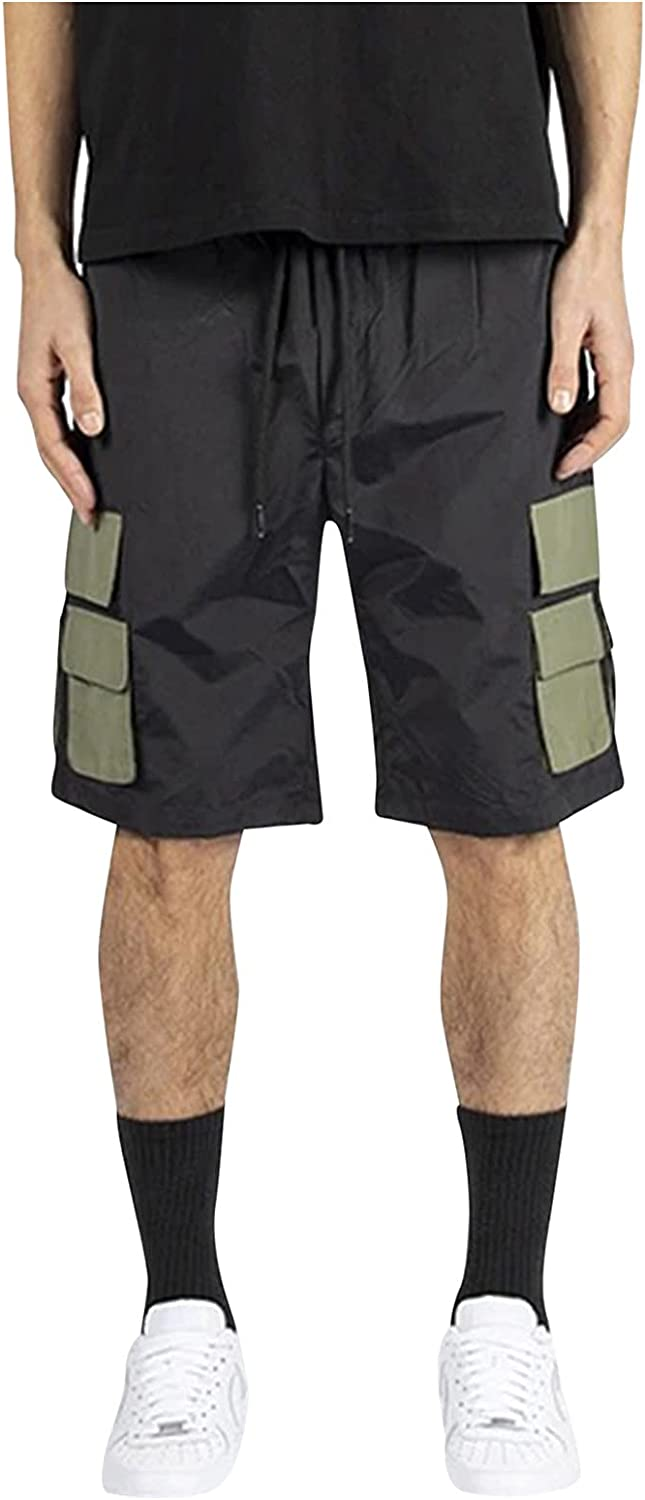 XCeihe Cargo Shorts for Men Relaxed Fit Summer Casual Outdoor Bandage Elastic Waist Cargo Pant with Pockets