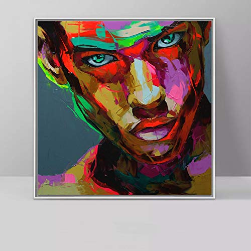 YIYEBAOFU Sin Marco Nielly Francoise Trabajo de Arte decoración de la Pared Pintura al óleo Retrato Cara Arte decoración del hogar Moderno l15.7x15.7inch