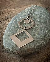 Sautoir géométrique femme, pendentif coeur, anneau et losange, chaîne acier inoxydable argent