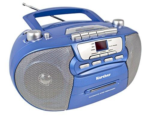 Karcher RR 5040 Oberon tragbares CD-Radio (AM/FM-Radio, CD, Kassette, AUX-In, Netz/Batteriebetrieb) blau-metallic