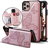 iPhone 11 Case Wallet For Women/Girls,Vodico iPhone 11 6.1 Case with Card Holder,Cute Girly Butterfly Slim Leather Folio Flip Magnetic Clasp Purse Phone Cover with Credit Card Slots&Stand (Rose Gold)