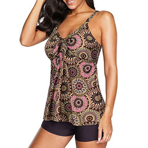 Durio Badeanzug Damen Bademode Zweiteilig Tankini Set V-Ausschnitt Bikini Set Bauchweg Sexy Geometrische Blumen 44-46