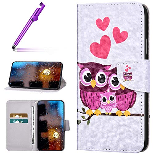 Urhause Kompatibel mit Huawei Honor 8X Hülle Bunt Muster Leder PU Handyhülle Magnetverschluss Standfunktion Handytasche Brieftasche Tasche Kartenfach Etui Wallet Lederhülle Case,Katzenfamilie