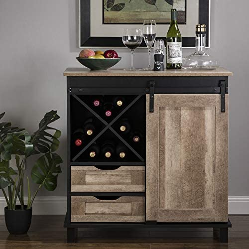 Glitzhome Wood Rustic Wine Cabinet 2 Piece Bar Cabinet with Wine Storage 31 5 L Sideboard Table product image