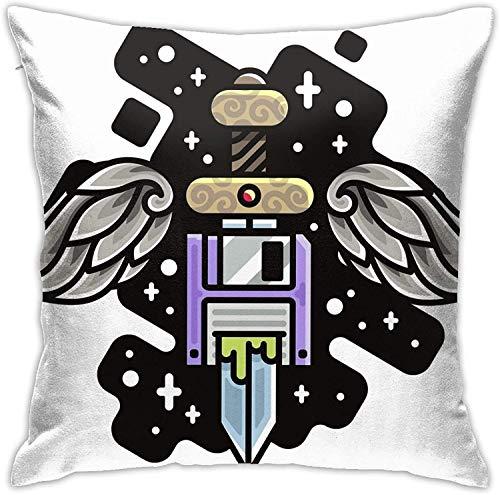 DH-MS - Funda de almohada cuadrada con forma de espada para vestir, decoración del hogar, para salón, sofá, coche, 45,7 x 45,7 cm