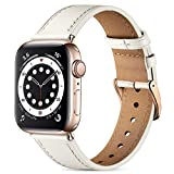 Easuny Leather Band Compatible with Apple Watch SE 40mm 38mm iWatch Series 6 5 4 3 2 1, Classical Elegent Genuine Leather Strap Wristband Replacement Accessories for Women Men,Ivy White