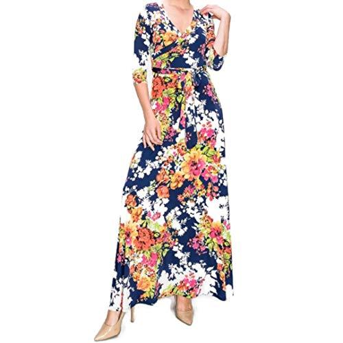 Janette Fashion Tropical Faux Wrap Maxi Plussize Dress