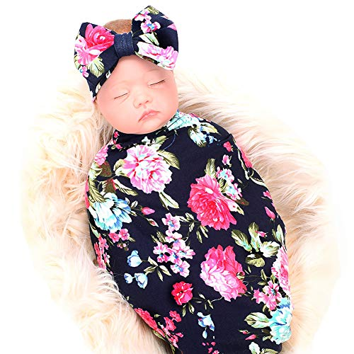 Bucaum Newborn Receiving Blanket Headband Set Flower Print Baby Swaddle