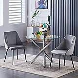 BODLRY Juego de 2 sillas de comedor de terciopelo, tapizadas con patas de metal negro, modernas sillas de terciopelo para cocina, comedor, sala de estar, gris