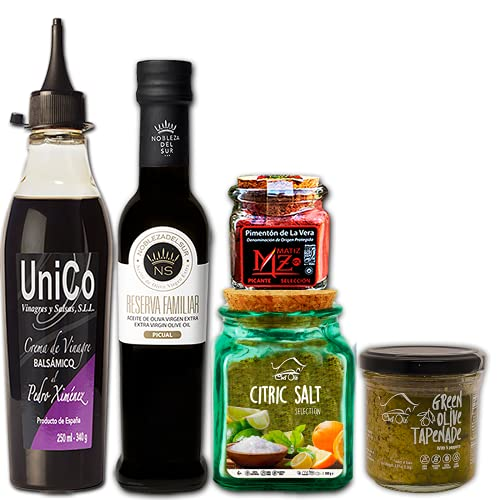 Chef Ole Picasso Box Gourmet Cooking Gift Basket Curated Selection 5 Healthy Mediterranean Food Items Imported From Spain,Natural,Artisan,Non-GMO,Gluten-Free.Upgrade Your Meal Preparation skills