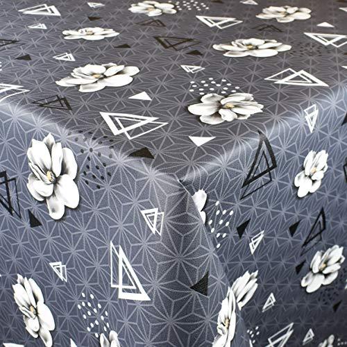KEVKUS Wachstuch Tischdecke geprägt Meterware P1072-1 Geometrie Bauhaus Dreieck Blumen grau wählbar in eckig rund oval (Rand: Paspel (mit Kunststoffband), 100 x 120 cm eckig)
