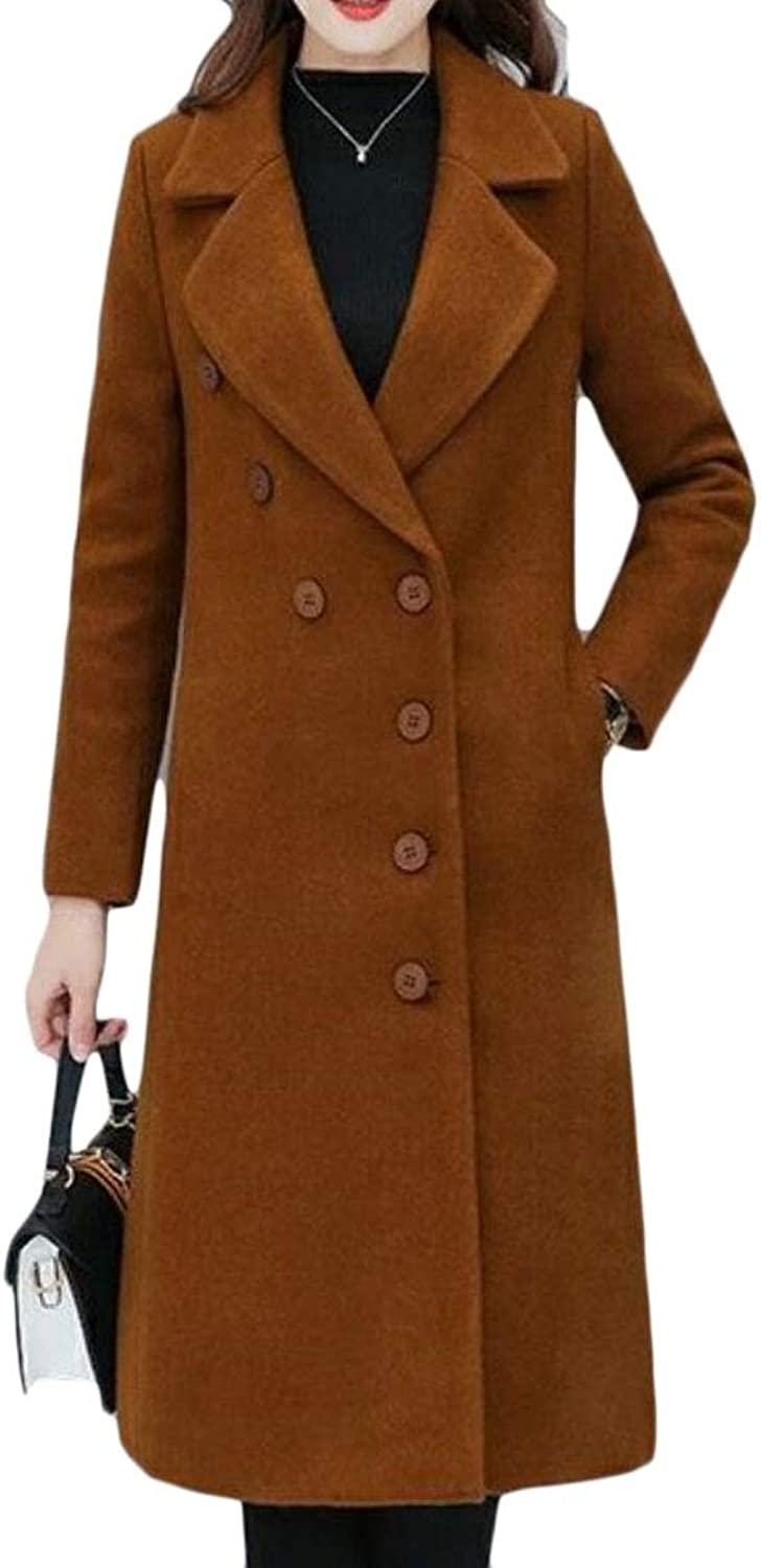 ZXFHZSCA Women Casual Pure color Wool Blend Single Breasted Long Trench Coat