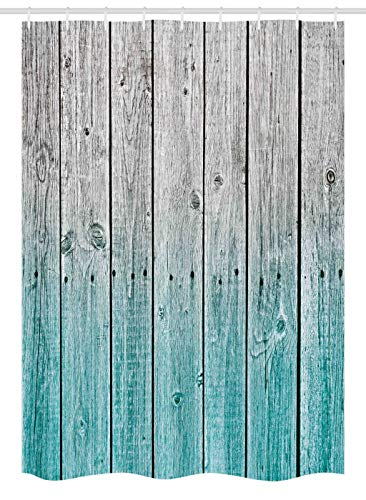 """Ambesonne Rustic Stall Shower Curtain, Wood Panels Background Digital Tones Effect Country House Art Image, Fabric Bathroom Decor Set with Hooks, 54"""" X 78"""", Teal Grey"""