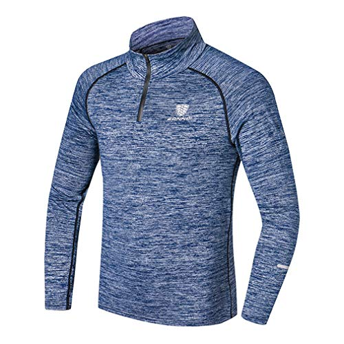 emansmoer Homme Long Sleeve Stretchy Training Running Basketball Sports T-Shirt 1/4 Zip Pullover Fitness Cycling Tops(L, Blue)