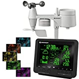 BRESSER 5-in-1 Centro meteo professionale con display di 256 colori nero...