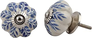 Set of 12 Pieces Leaf Floral Ceramic White Cabinet Knobs Furniture Handle Drawer Pull Vintage Designer (BLUE)