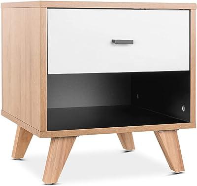 Mc Haus Sansa Table de Chevet, Blanc, 42,6x39,6x45cm