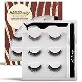 Newcally False Eyelashes with Self Adhesive Eyeliner | Eyeliner and Lashes | Non Magnetic | No glue | Allergy Free | Hassle Free