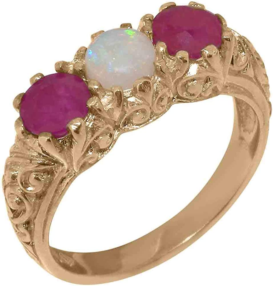 14k Rose Gold Natural Opal & Ruby Womens Trilogy ring - Sizes 4 to 12 Available