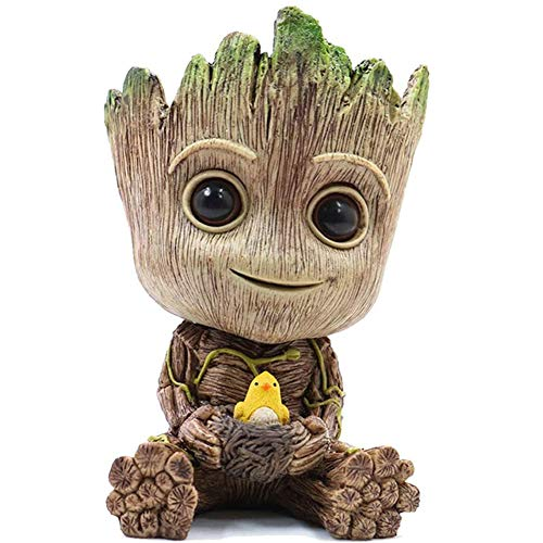 NUOKEXIN Groot Planter Pot, Baby Groot Bird-Nest Model Succulent Planter Pot Cute Green Plants Pot Groot Flower Pot, Groot Pen Holder with Hole, Best Gift for Kids, Friends, Parents