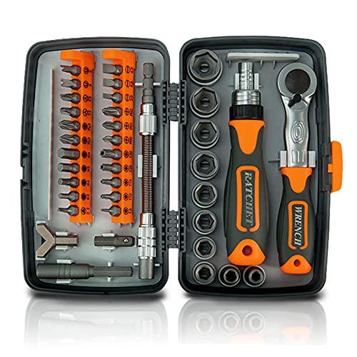 KKmoon Juego de herramientas 38 en 1 con llaves de vaso/carraca, multiusos, llaves numéricas, caja de herramientas de mano