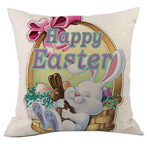 Funda de cojín, funda de cojín, cojín de sofá, cojines, decoración de Pascua, pintura al óleo, azúcar, conejo, color huevo, mariposas, Throw Pillow