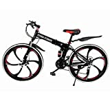 TLT Retail Outroad Mountain Bike (Ship from US) 21 Speed 6 Spoke 26 in Shining SYS Double Disc Brake Bicycle Folding Bike for Adult Teens Full Suspension MTB Bikes for Men/Women/Student (Red)