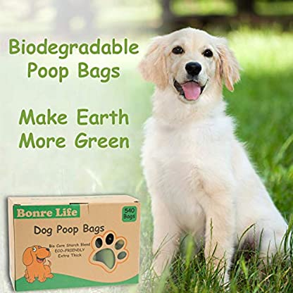 Bonre Life-Dog Poop Bags-540 BioBags,Super Strong,Extra Thick,Leak Proof Dog Waste Bags Made from Corn Starch,Biodegradable Dog Poo Bags 5