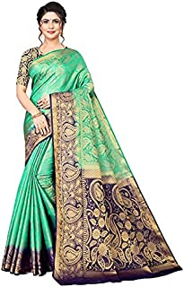 Neerav Exports Kanjivaram Silk With Weaving Zari Butta Jacquard Saree (Green)