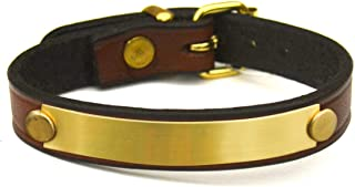 Big Dee`s Custom Leather Bracelet with Engraved Brass Plate