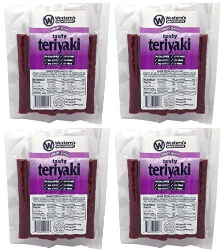 Westerns Smokehouse Meat Sticks - Simply Good Teriyaki Beef and Pork Jerky Meat Snack Sticks - 4 OZ Packs (Pack of 4) No Nitrates