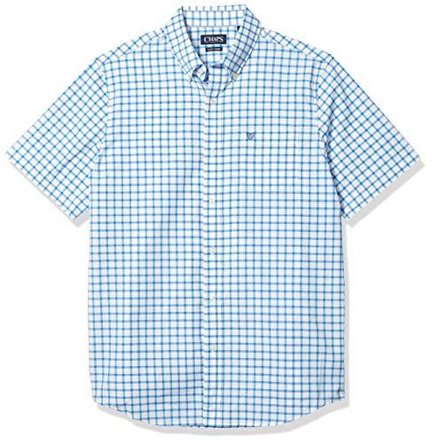 Chaps Men's Regular-Fit Short Sleeve Wrinkle Resistant Performance Sportshirt, White Multi, XL