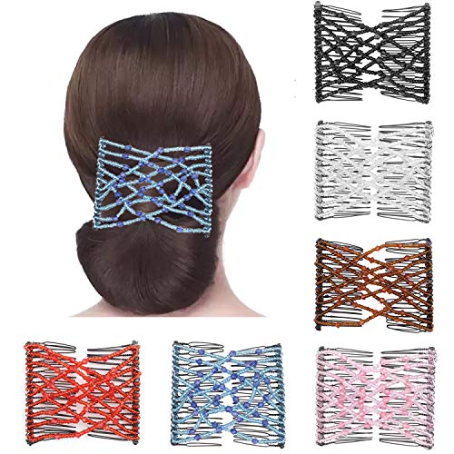 6 Pieces Magic EZ Combs, Hanhan Stretch Beaded Hair Combs Elastic Pearls Hair Clips Stretchy Hair Hairpins Double Slides Hair Combs for Women Ladies Girls DIY Hair Styling Accessories